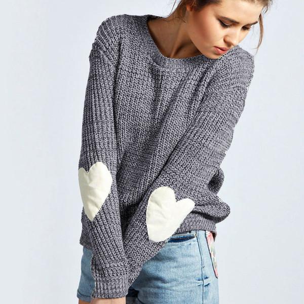 Winter-Herbst-neue Frauen-Strickwaren-Art- und Weisepullover-herzförmige verstärkte gestrickte Strickjacken-Frauen-lange Hülsen-Pullover-Oberseiten