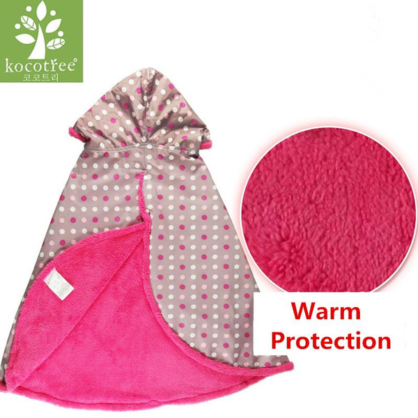 Kocotree Winter Poncho For Girls Boys Kids Waterproof Raincoat Coral Velvet Warm Clothes Outdoor Baby Bicycle Rainwear