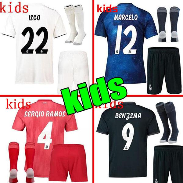 wholesale dealer 83b96 aef39 2019 2019 Real Madrid Ea Sports Kids Kit Soccer Jerseys 2018/19 Home White  Away 3RD 4TH Boy Child Youth Modric ISCO BALE KROOS Football Shirts From ...