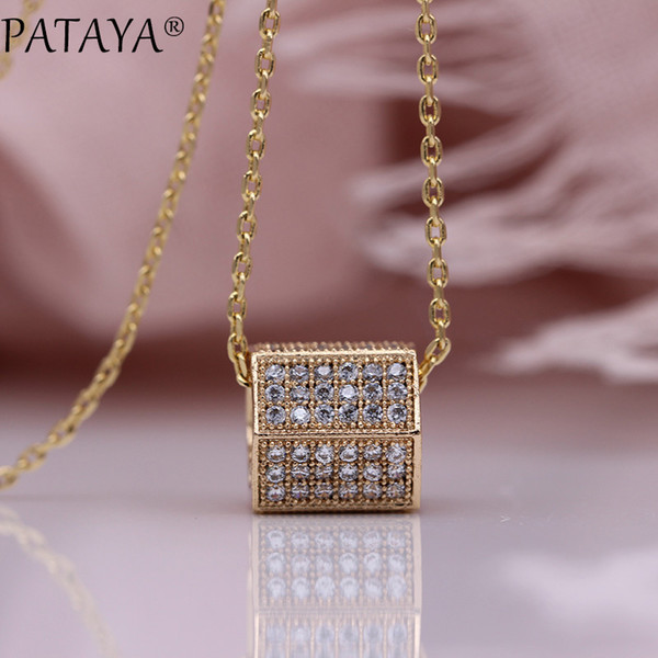 pataya new six-sided square pillar luxury necklaces micro-wax inlay natural zircon fashion jewelry 585 rose gold women pendants