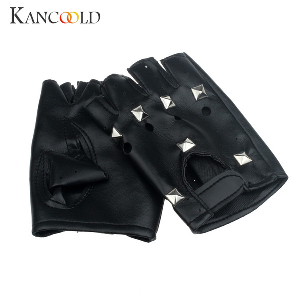 SIF High Quality Unisex Theatrical Punk Hip-hop PU Black Half-finger Leather Gloves Women Men Fashion Square Nail Mittens Jan18