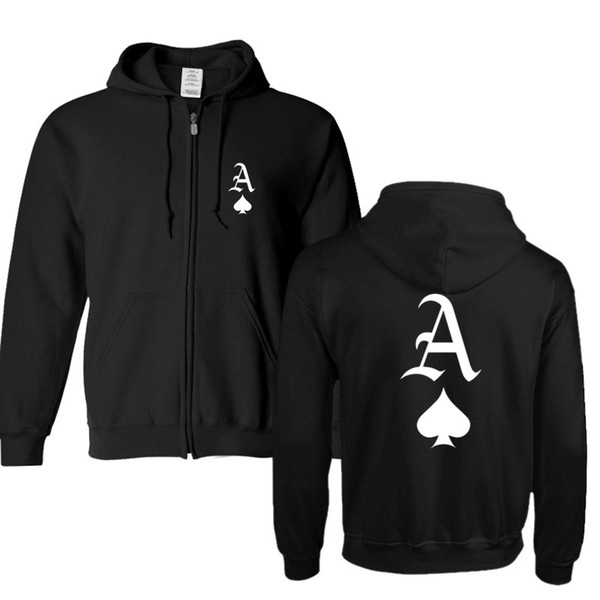 Plus size for Hoodies Men hip-hop Zipper Jacket Sweatshirts ACE OF SPADES PRINTED Sweatshirts Up-to-date Jacket