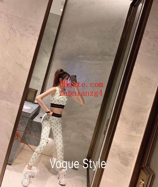 2019 marca vestidos de verano para mujer Trajes de dos piezas crop top leggings para mujer Conjunto de ropa de yoga impreso Conjunto de ropa de yoga Conjunto de ropa de mujer YDT-11