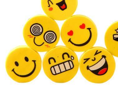 School Stationery Prize Cute Smile Emoji Eraser Primary School Students Learning Prizes Wholesale Cartoon Rubber Erasers
