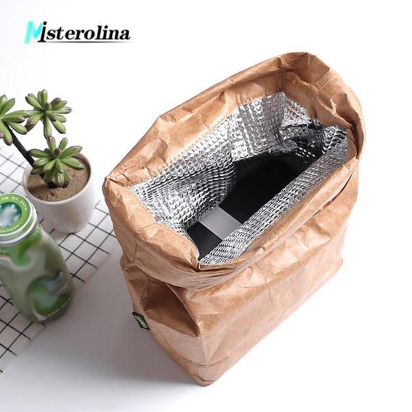 2018 new summer picnic bags for women men kid Waterproof Insulation lunch Bag 6L Thermal Food bags Cooler fold Kraft paper bags D19010902
