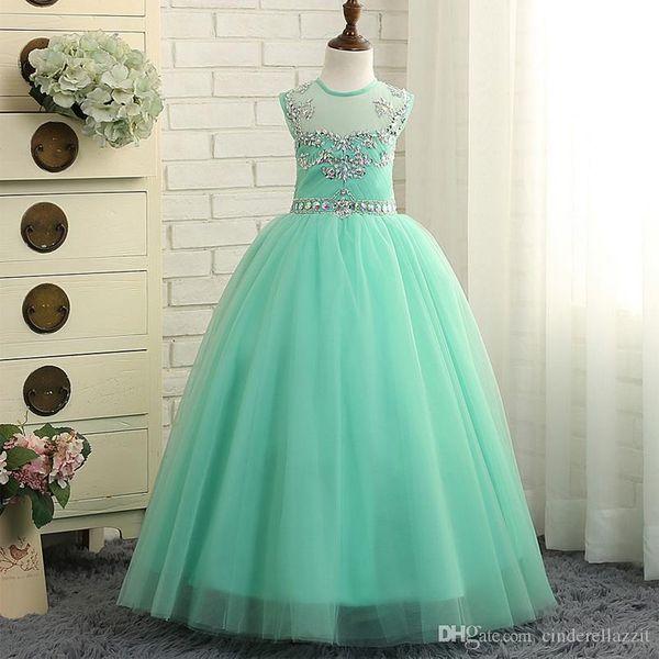 Compre Vestidos De Niña De Flores Verde Menta Vestido De Daminha Tulle Con Piso Moldeado Longitud De Vestidos De Comunión Vestidos Para Niñas A 5723