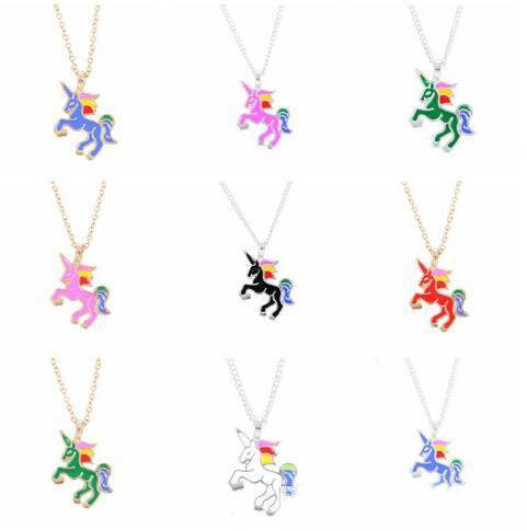 Cute Enamel Unicorn Necklace Mixed 12 Colors Cartoon Rainbow Horse Choker Silver Gold Chain Unicorn Necklaces&Pendants For Christmas Gifts