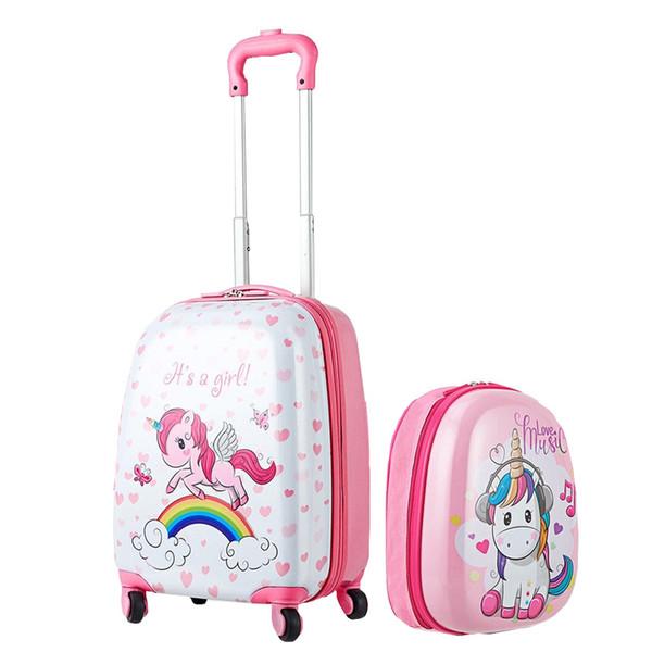 "Cute Cartoon Suitcases Wheel Kids 12"" Backpack and 16"" Rolling Suitcase Kids Luggage Set Rolling Luggage Set Spinner Trolley"