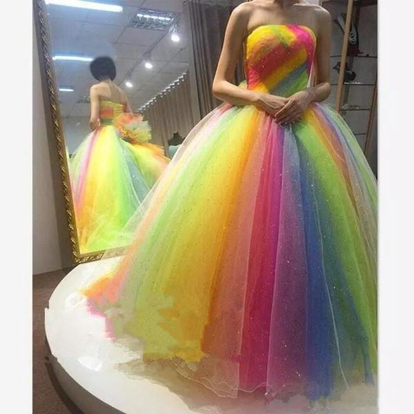 2019 Colorful Rainbow Prom Dresses ball gown senza spalline Lunghezza del pavimento lace up corsetto più il formato Lungo abiti da ballo partito formale sera