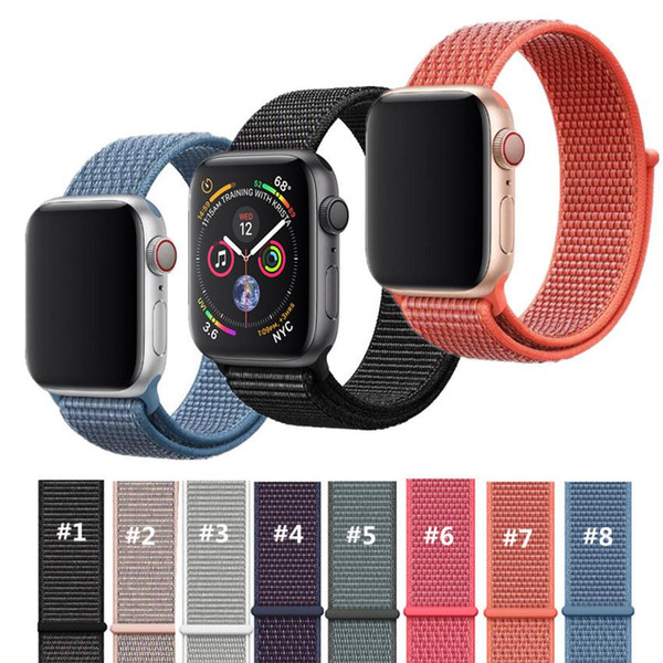 2018 New Nylon Loop for Apple Watch Series 4 Size 40mm 44mm Soft Breathable Woven Nylon Strap Fit For Apple Watch Iwatch 38 42mm Series 123