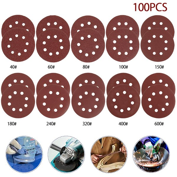100Pcs 5 inch 40#-2000# Grit Sanding Disc Sanding Polishing Pad Sandpaper Disc