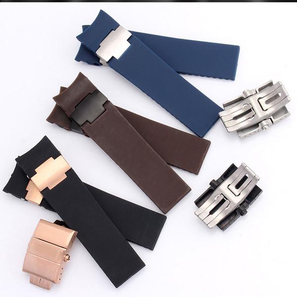 Bracelet en caoutchouc imperméable de 22 mm brun noir bleu, convient aux accessoires de montres mécaniques du plongeur Ulysse Nadine, boucles