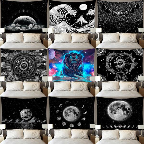 Japan Kanagawa Waves Printed Hanging Tapestry Wall Hanging Tapestries Boho Bedspread Yoga Mat Blanket 95*73cmHome Decor