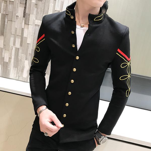 4 Colors Gold Chinese Button Collar Suit Jacket Slim Men Blazer Pattern Army Pilot Jacket Blue Red White Blazer M-2XL