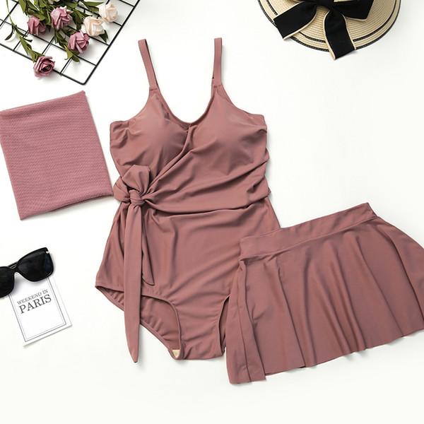 2019 Stylish Plus Size Swimming Suit for Women XL-5XL Push Up Swimsuit One Piece Swimwear Skirt Bathing Suits Maillot De