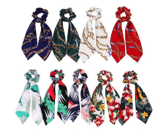 Women Streamers Scrunchie Hair Ring Bands Ribbon Girl Floral Flower Hair Scrunchies Ponytail Tie Headwear Accessories Head Wrap 50pcs F413A