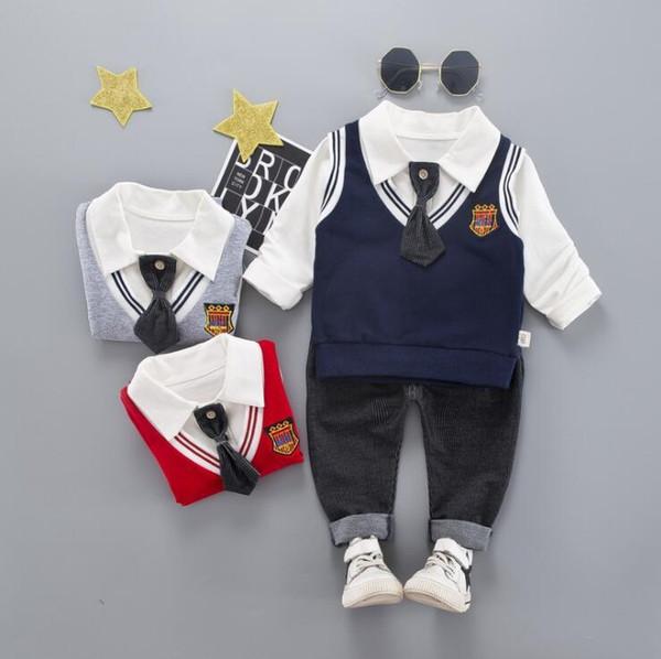 Новая весна и осень отдых издание 2019 года мультфильм цифровой 5 с длинным рукавом и брюки костюм для детей в возрасте 1-6