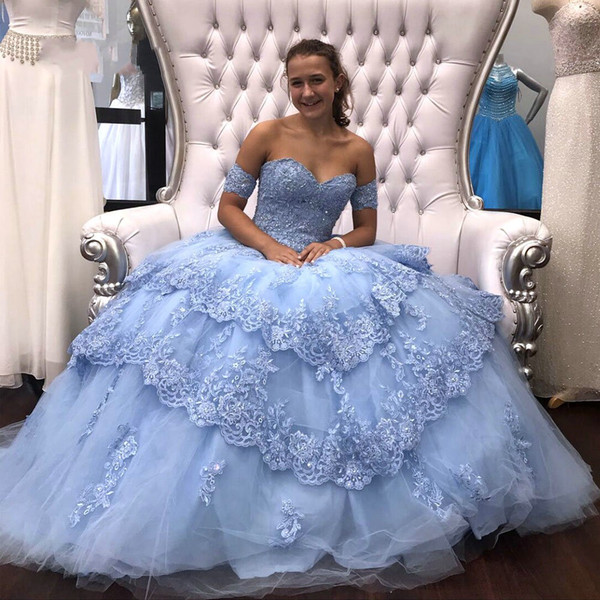 3602515823d78 Light Sky Blue Modest Lace Ball Gown Quinceanera Prom dresses Sequins  Applique Tulle Off the shoulder Formal Party Sweet 16 Dress