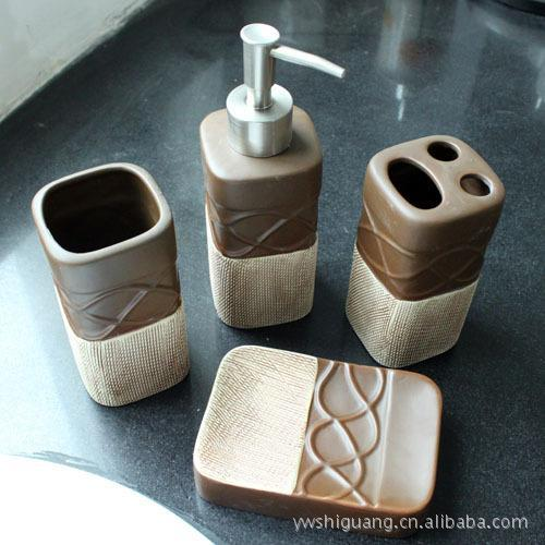 European mellow tone four-piece ceramic bathroom set toiletries toothbrush holder bathroom accessories amenities