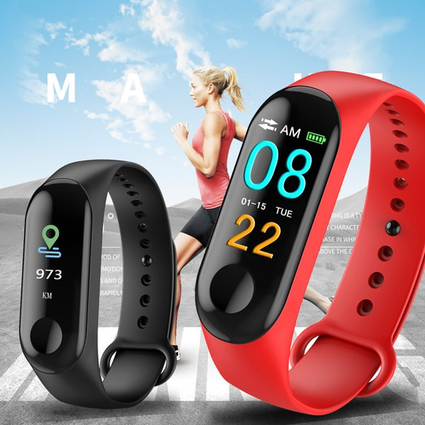 M3 mart bracelet band fitne tracker heart rate blood pre ure me age reminder color creen waterproof port wri tband