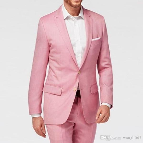 2018 Rose SOIRÉE Hommes Costumes Porter Groom entaillé Lapel deux pièces Personnalisées mariage smokings marié (veste + pantalon)