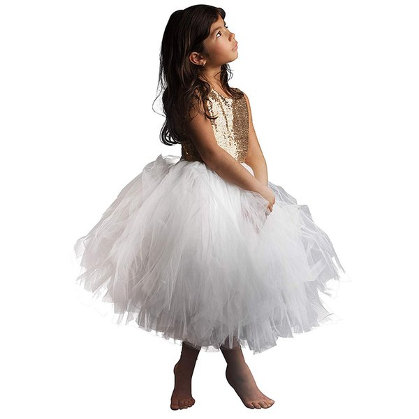 Sequin Flower Girl Sleeveless Princess Birthday paty Dress 2-12 Years