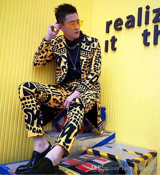 S-5XL 2019 Yeni Gece Kulübü Erkekler giyim Sarı harfler gündelik Uzun takım set artı boyutu şarkıcı DJ GD kuaför Sahne kostümleri resmi elbise