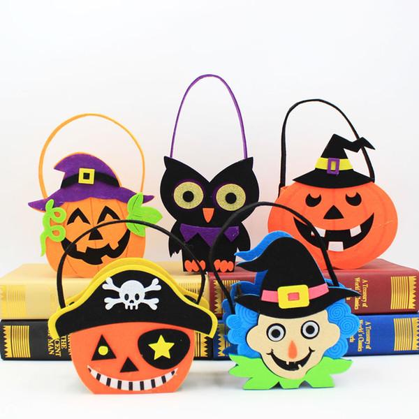8 stili Borse per bambini di Halloween Sacchetti di caramelle non tessuti Sacchetti di teschi di zucca Parte di carnevale Puntelli per ornamenti M364