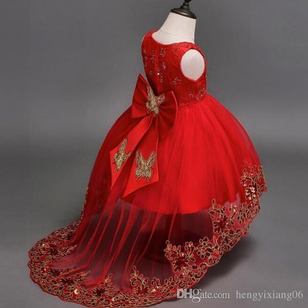 Yeni Shinning Kızlar Pageant elbise Sheer Boyun Boncuklu Kristal Saten 3 Renk Çiçek Kız Törenlerinde Örgün Parti Elbise Gençler Çocuklar Için lw51