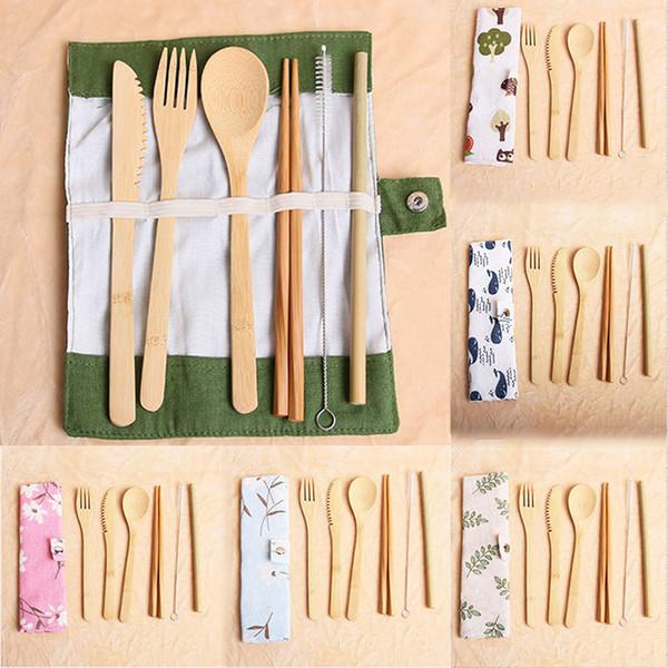 7 pz / set posate portatili set di posate da viaggio in bambù all'aperto set di coltelli cucchiaio bacchette forchetta cucchiaio set di stoviglie DHL WX9-1497