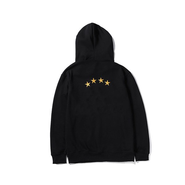 2019 Mens конструктора Толстовка весна осень Блуза с капюшоном 4 звезды печатью Черной Белой Мода Повседневной марка Hooy для мужчин M-2XL LSY98284
