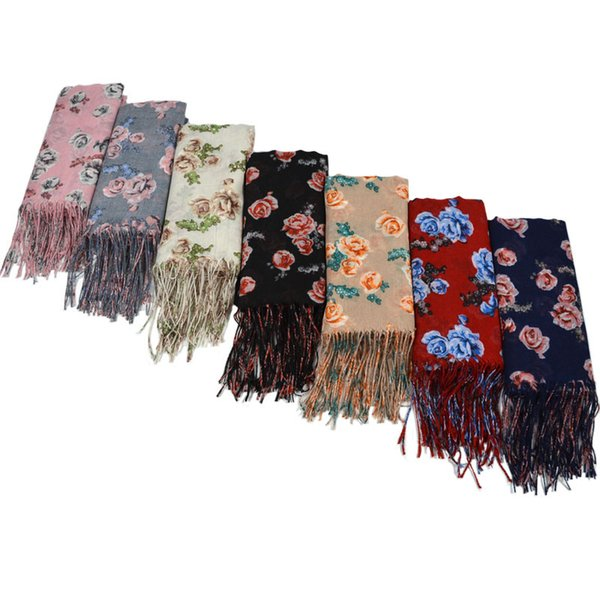 Sciarpa con frange di fiori e sciarpa con frange stampata più venduta Testa di foulard musulmano