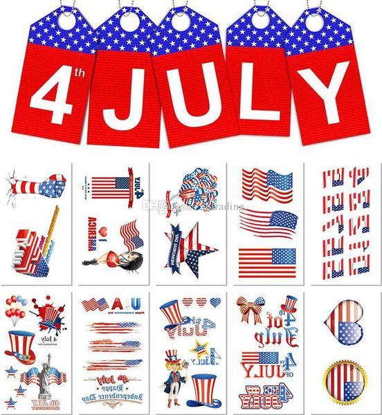 5.7*9.7cm Waterproof American flag tattoo sticker independence Day cartoon kids children body art make up tools 10 styles C6538