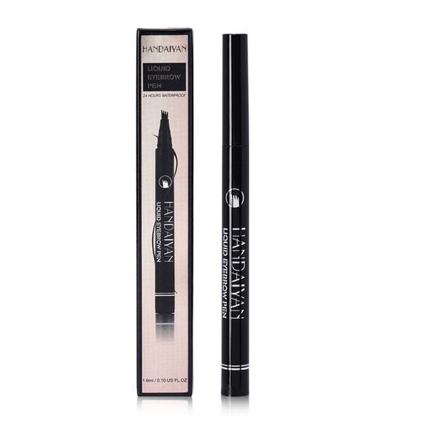 Lápis de sobrancelha castanho preto 4-garfo Micro líquido sobrancelha duradoura 24 horas à prova d'água diária Natural maquiagem nude