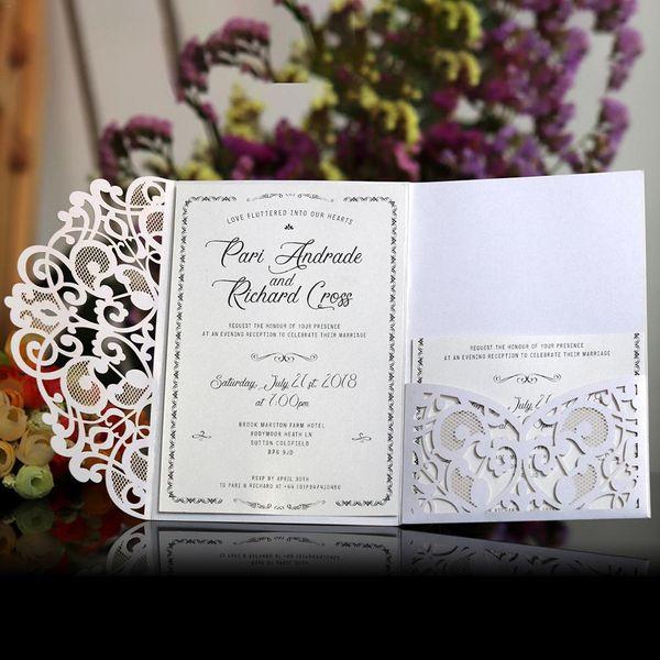 10pcs style Européen Découpé Au Laser Invitations De Mariage Cartes Tri-Fold Dentelle Invitation D'affaires Cartes Décoration De Fête