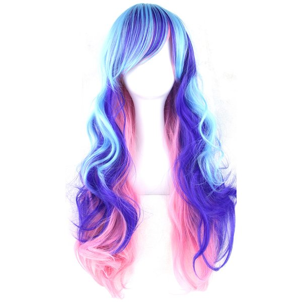 70cm Long Curly Pink Blue Green Colorful Synthetic Hair Full Party Hairpiece Cosplay Wigs