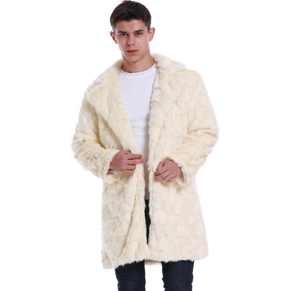 Male Outwear Thick Plus Size 3XL Men Winter Coats New Fashion Faux Wool & Blends Fur Coat Warm Jackets Long Casual Fur Overcoats