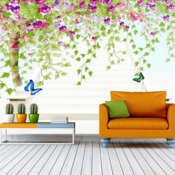 Eco-friendly Fiber Decor Wall Coating 3D Colorful Wall Paper Custom Any Size Green Tree Abstract Art Mural Living Room 3D Fresco