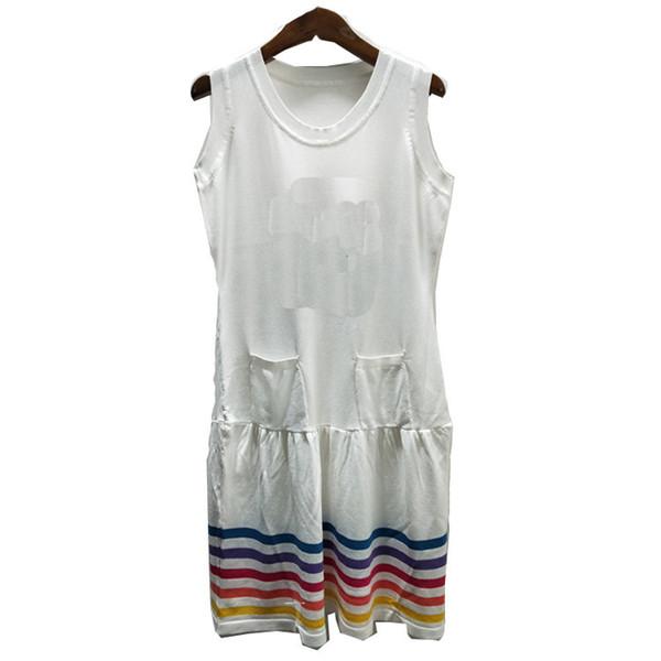 Cor Gelo Tricô T-shirt Sem Mangas Vestido Feminino High-end Personalizado Magro E Fino Colete De Saia