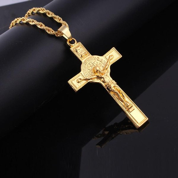Gold Plated Jesus Cross Necklace with Long Gold Chain Fashion Hip Hop Jewelry for Men Women 162247