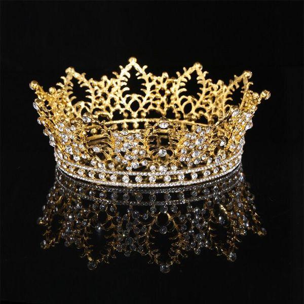 Gold Metall Tiara und Krone Full Circle Crystal Queen Braut Haarschmuck Diadem Hochzeit Brautjungfer Haar-Accessoire