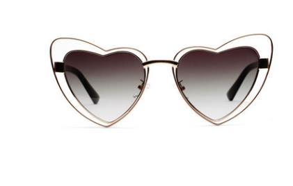 New European and American universal double-layer peach-heart metal sunglasses with concave Street pat and fashionable personality trend Sung
