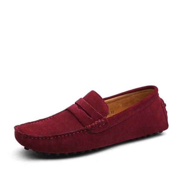 Designer Slides Herren echtes Leder Schuhe Wildleder Loafer große offizielle Schuhe sanfte Herren Driving Schuh lässig Komfort Atem shoesW59