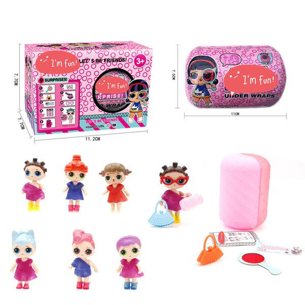 1PC 11CM*7.5CM New Doll Series LiL Sisters Action Figures detachable Space capsule Dress Up Baby Spray Water Toys boxes baby color changes
