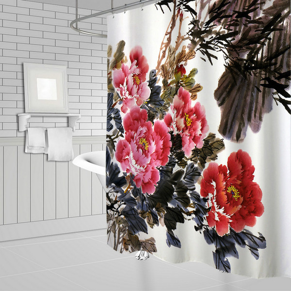 Ink painting Red Flower Plant Shower Curtains Chinese Style Bathroom Decor Waterproof Polyester Home Bath Shower Curtain Set 69 x 70 Inch
