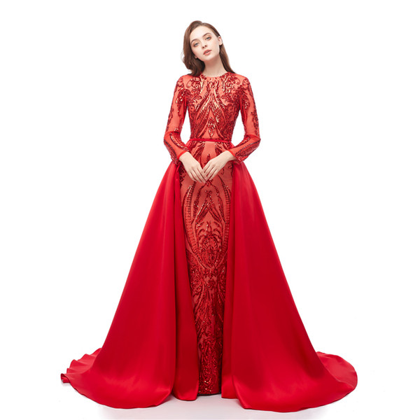 2019 Long sleeve red sequined lace fishtail evening dress big tail long dress sexy prom cocktail dress