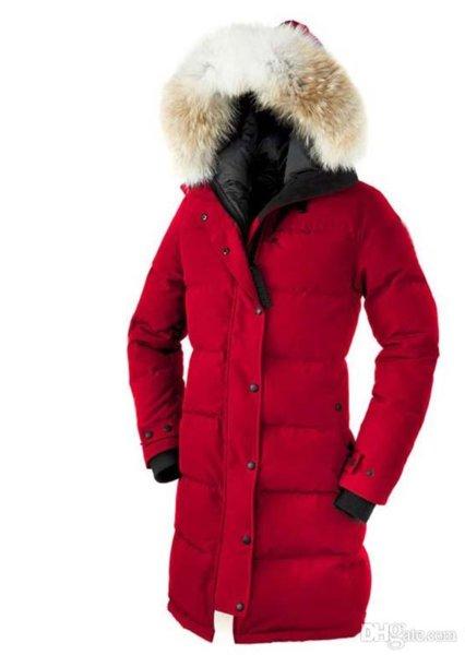 Las mujeres Trillium Femme Aire libre piel Down Jacket Hiver grueso caliente de la capa a prueba de viento ganso Espesar Fourrure chaqueta con capucha de ganso shelburne par