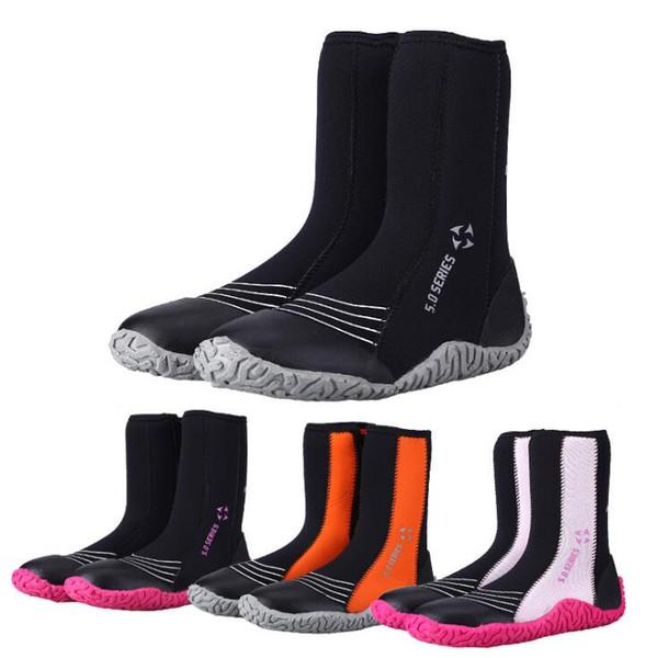5MM chaussures de plongée bottes hautes hommes et femmes à la dérive surf anti-slip chaussures chaudes en amont plongée en apnée livraison gratuite