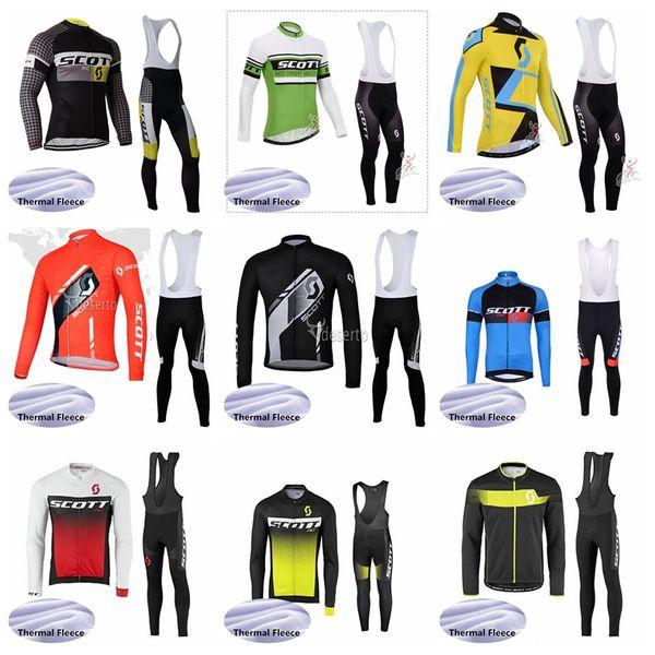 SCOTT winter Cycling Winter Thermal Fleece jersey bib pants Keep warm sets Breathable men Thin and light popular wear 60901X