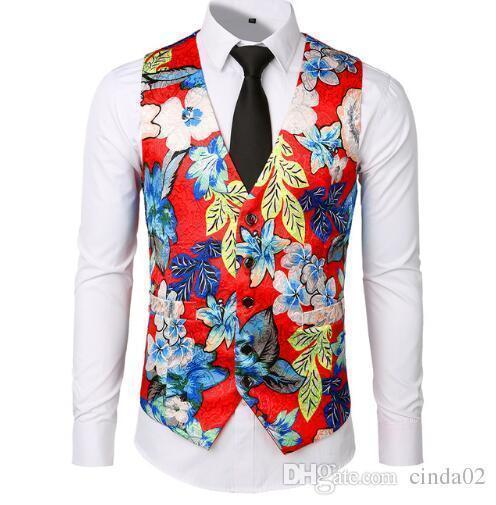 New Dress Vests For Men Slim Fit Casual Flower Printed Sleeveless Jackets Coat Mens Formal Waistcoats Dress Suit Vest